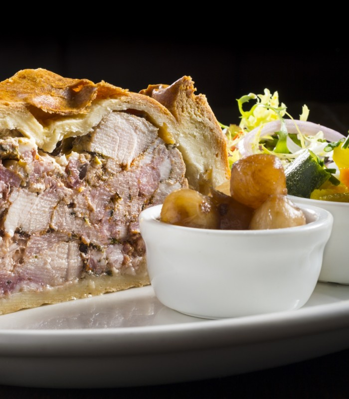 Blue Lion Inn, East Witton, Homemade Pork Pie with onions and Piccalilli